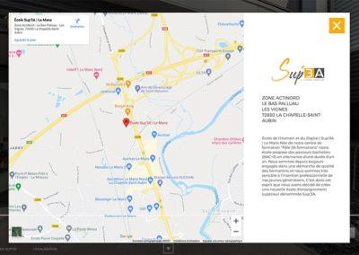 Sup'3A - popup localisation carte Google